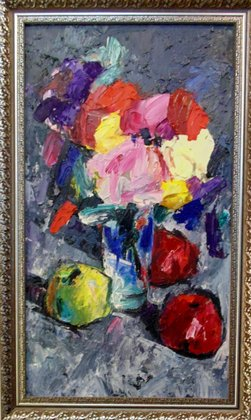 Цветы и яблоки на сером